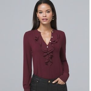 WHBM Port Red NWT Military Button Ruffle Top
